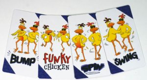 cards: Bump, Funky Chicken, Spin, Swing