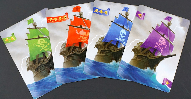 Loot pirate ships: green, red, blue, purple