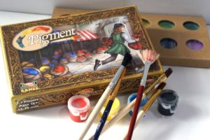 Pigment game, brushes, paints